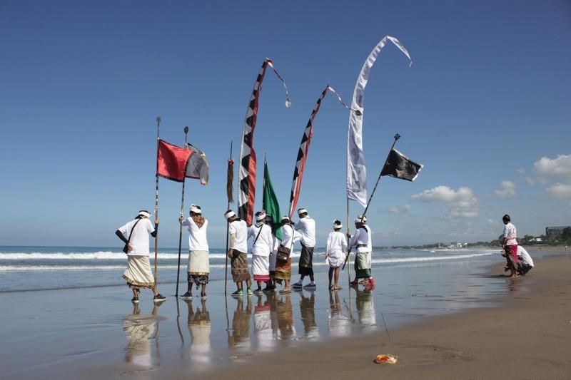 Melasti Ceremony at Seminyak Beach