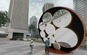 Rancangan sisi dalam Tugu Sepeda di Jakarta